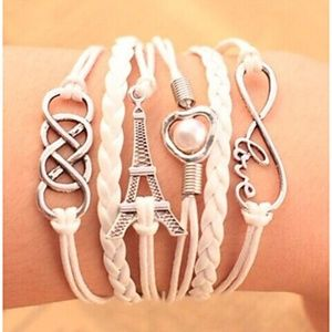 White Leather Multiple Layer Stackable Bracelet